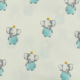 Tissu popeline de coton Oeko-Tex Poppy Elegant elephant - blanc x 10cm