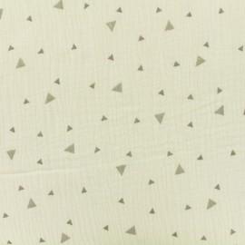 Tissu double gaze de coton triangle - ecru x 10cm