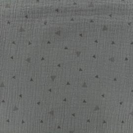 Tissu double gaze de coton triangle - gris x 10cm