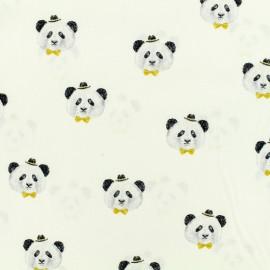 Tissu popeline de coton Oeko-Tex Poppy Pretty panda - blanc x 10cm