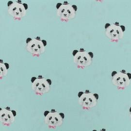 Tissu popeline de coton Oeko-Tex Poppy Pretty panda - ciel x 10cm