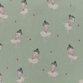 Tissu popeline de coton Oeko-Tex Poppy Pretty ballerina - vert amande x 10cm