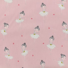 Tissu popeline de coton Oeko-Tex Poppy Pretty ballerina - rose x 10cm