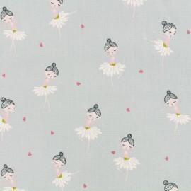 Tissu popeline de coton Oeko-Tex Poppy Pretty ballerina - gris perle x 10cm