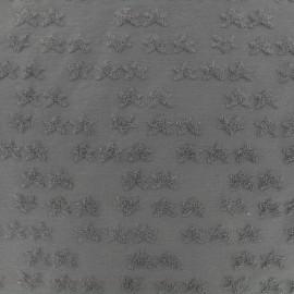 Tissu oeko-tex jersey étoile velours - gris x 10cm