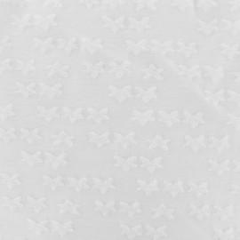 jersey oeko-tex stars velvet - white x 10cm