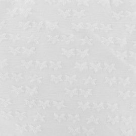 Tissu Oeko-tex jersey étoile velours - blanc x 10cm