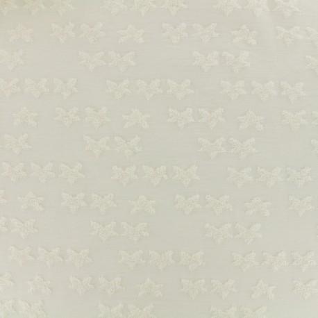 Tissu Oeko-tex jersey étoile velours - écru x 10cm