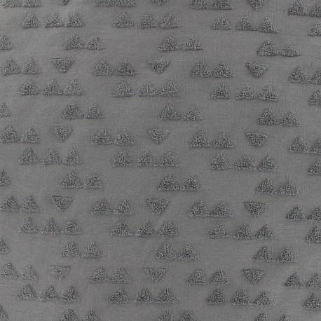 Tissu Oeko-tex jersey triangle velours - gris x 10cm