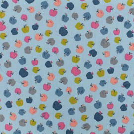 Tissu popeline de coton Oeko-Tex Poppy Sweet apples - bleu x 10cm