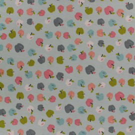Poppy cotton fabric Sweet apple - grey x 10cm