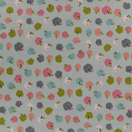 Poppy Oeko-Tex cotton fabric Sweet apple - grey x 10cm