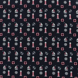 Printed cotton fabric In the navy - navy blue x 10cm