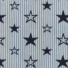 Printed cotton fabric Like a star - navy blue x 10cm