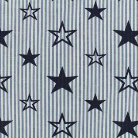 Tissu coton imprimé Like a star - bleu marine x 10cm