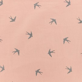 Milleraies velvet fabric Swallow - pink x10cm