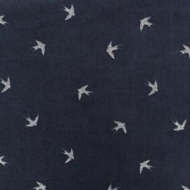 Tissu velours milleraies Swallow - bleu nuit x 10cm