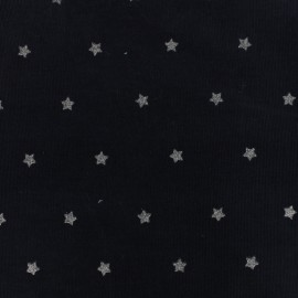 Milleraies velvet fabric Stars - midnight blue x10cm