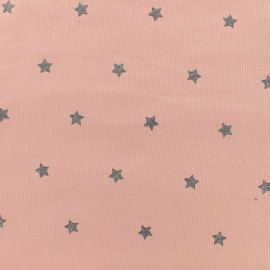Milleraies velvet fabric Stars - pink x10cm