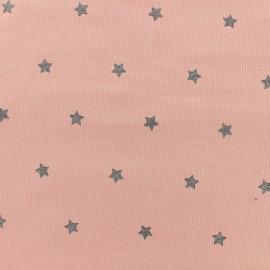 Tissu velours milleraies Stars - rose x 10cm