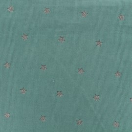Milleraies velvet fabric Stars - green x10cm