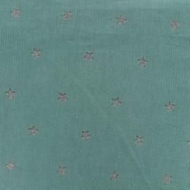 Tissu velours milleraies Stars - vert x 10cm