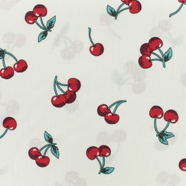 Printed cotton fabric Cherie cherry - white x 10cm