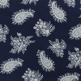 Tissu coton imprimé Cachemire - marine x 10cm