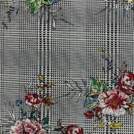 Tissu Gabardine satin Vintage flower - noir x 10cm