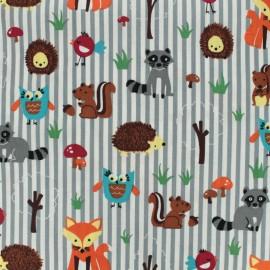 Tissu coton imprimé Les amis de la forêt - rayés gris et blanc  x 10cm