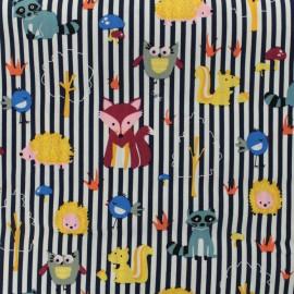 Tissu coton imprimé Les amis de la forêt - rayés marine et blanc  x 10cm