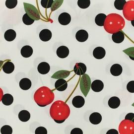 Tissu coton imprimé Chérie cherry pois noir - blanc x 10cm