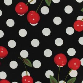Tissu coton imprimé Chérie cherry pois blanc - noir x 20cm