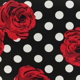 Tissu coton imprimé Rose vintage pois blanc - noir x 20cm