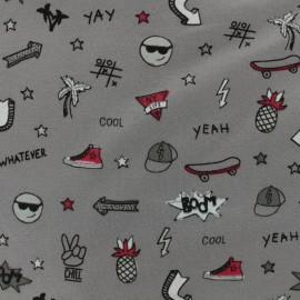 Tissu coton jersey College - grey x 10 cm