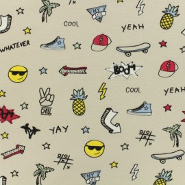 Tissu coton jersey College - ecru x 10 cm