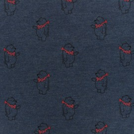 Tissu coton jersey Hello bear - bleu x 10 cm