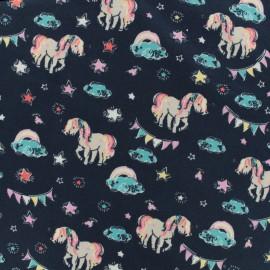 Jersey cotton fabric Unicorn - blue x 10 cm