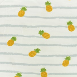 Jersey cotton fabric Pineapple - grey stripes on white background x 10 cm