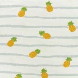 Tissu coton jersey Ananas - rayure gris fond blanc x 10 cm