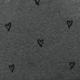 Embroidered sweat fabric Heart - grey x 10cm