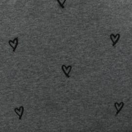 Tissu sweat brodé Heart - gris x 10cm