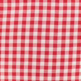 Tissu viscose Vichy - rouge x 10 cm