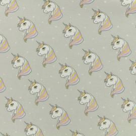Tissu Oeko-Tex jersey Poppy Starburst unicorn - gris perle x 10cm
