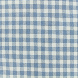 Tissu chambray Vichy - bleu ciel x 10 cm
