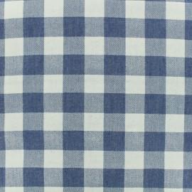 Tissu chambray Grand Vichy - bleu x 10 cm