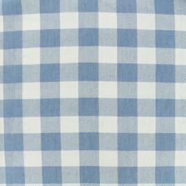 Tissu chambray Grand Vichy - bleu ciel x 10 cm