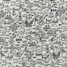 Tissu jersey By te sea - blanc x 10cm