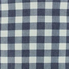 Tissu chambray Grand Vichy - bleu marine x 10 cm