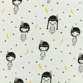 Tissu Oeko-Tex jersey Poppy Indian girl - blanc x 10cm